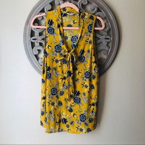 🍬 Ember yellow with blue floral sleeveless blouse